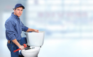 Plumber with toilet.